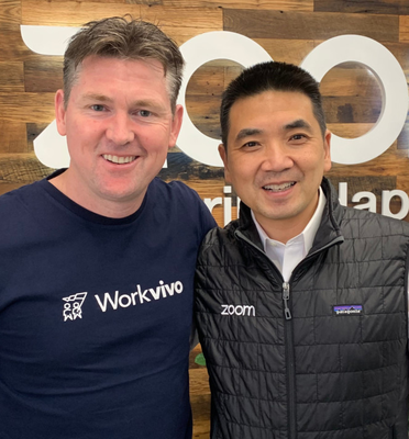 Workvivo CEO John Goulding with Eric Yuan, CEO of Zoom and entrepreneur