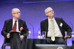 Dan O'Brien (Independent Newspapers and IIEA)  and Istvan Szekely (European Commission) at the 'Ireland- Lessons from it's Recovery from the Bank-Sovereign Loop' conference organised by the CBI CEPR and IMF at Dublin Castle.
