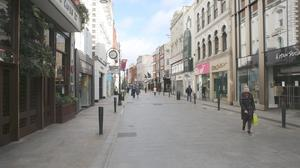 Lockdown: A quiet Grafton Street during pandemic restrictions in Dublin. Photo: Gareth Chaney/Collins