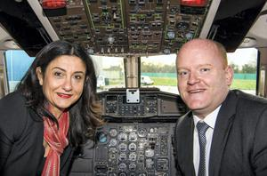 CityJet chief executive Christine Ourmieres and Stobart Air chairman Sean Brogan at the announcement yester day.