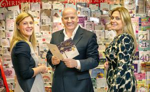 Sean Gallagher with Michelle Daly, Marketing and Sales director and Aisling Naughton, Operations Manager, P & G Cards, Athleague, Co. Roscommon.