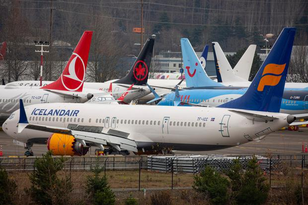Standstill: Grounded 737 Max planes in Seattle, Washington. Photo: David Ryder/Bloomberg