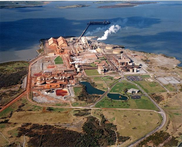 The Aughinish Alumina Refinery on the Shannon Estuary