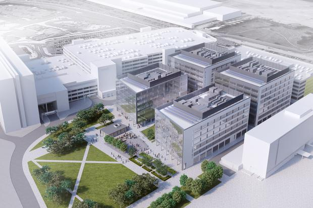 A computer-generated image of the planned business campus at Dublin Airport