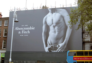 The 'naked torso boy' giant poster outside the store in Dublin's College Green. Photo: Collins