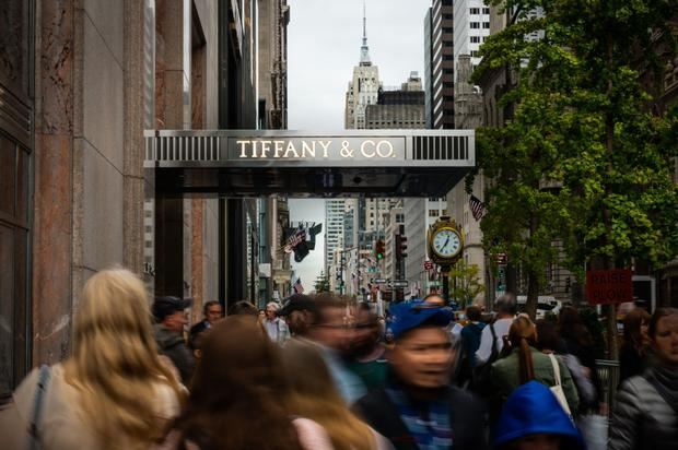 Signage is displayed outside the Tiffany & Co. store on Fifth Avenue in New York. Photo: Mark Kauzlarich/Bloomberg