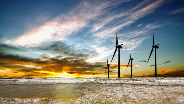 Turbines in an offshore wind farm. Stock image