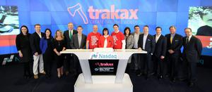BETTING THE HOUSE ON RED: Cormac, Catriona and Colm Barry of Trakax all wore red to ring the Nasdaq opening bell, joined by (l-r) Maeve Moran (Arthur Cox); Eric Bailey (The Concept Studio); Siobhan Hanley (IDA); Simone Boswell (Enterprise Ireland); Brendan McGeever (Sunrise Brokers); Kevin Cole (Cole & Cole Sales); Cormac, Catriona and Colm Barry; Orla Battersby (Enterprise Ireland); Paul Barry (Fineos); Barry Cole (Cole & Cole Sales); Marcus Spillane (MS Ventures); Stephen O'Shea (The Concept Studio); and Mark Segall (Kidron Corporate Advisors)
