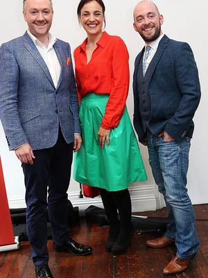 Cavan chefs Gearoid Lynch and Shane Smith with Ella McSweeney at the launch of Taste of Cavan Food Festival. Photo: Lorraine Teevan