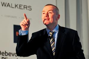 Willie Walsh, chief executive officer of International Consolidated Airlines Group (IAG), gestures as he delivers a keynote speech at the Airline Economics Dublin 2016 event this week. Photo: Aidan Crawley/Bloomberg