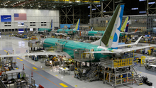 Hangar time: The grounded 737 Max plane seen on the production line. Photo: AP