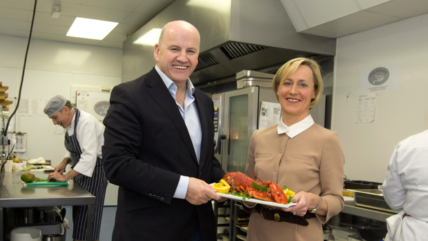 Sean Gallagher with Eileen O'Connor from Cafe Riva. Photo: David Conachy