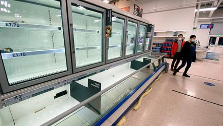 Shoppers at a Tesco supermarket in Belfast found this almost empty freezer cabinet when they visited last Thursday