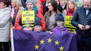 Border Communities Against Brexit holding protests on Old Belfast Road in Carrickcarnon on the northern side of the Irish border, between Newry and Dundalk. Photo: PA