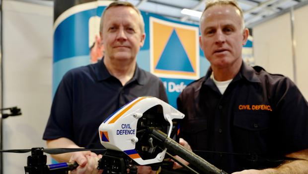 Kevin Houston and Noel McManus, Civil Defence, with rescue mission drones