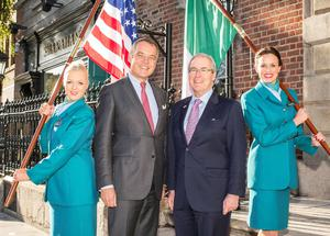 Aer Lingus chief executive Christoph Mueller and US ambassador to Ireland Kevin O'Malley with Aer Lingus cabin crew members Anna Moore and Jillian McDonald at the launch of the new Washington DC route in Dublin yesterday.