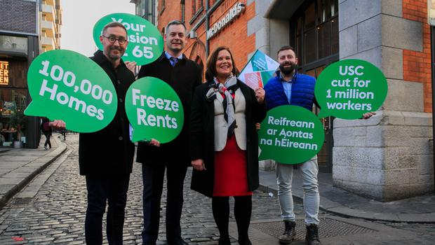 Sinn Fein housing spokesperson Eoin O Broin, finance spokesperson Pearse Doherty, Sinn Fein president Mary Lou McDonald and candidate for Dun Laoghaire, Shane O Brien during the launch of the party's general election 2020 manifesto