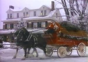 A still from the traditional Budweiser Christmas TV ad.