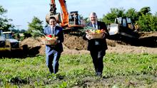 17/08/2015 NO REPRO FEE, MAXWELLS DUBLIN.  100 NEW JOBS AND 100 CONSTRUCTION JOBS TO BE CREATED BY BALLYMAGUIRE FOODS.  (l to r) Edward Spelman, MD of Ballymaguire Foods with Michael Hoey Chairman Ballymaguire Foods on site where work has started on the n