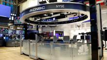 Lull: CNBC's area on the floor of the New York Stock Exchange lies dormant as shares stabilise