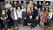 Musicians, including Bob Geldof and Bono, at the charity single recording.