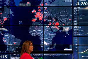 A map in Panama displays countries where Covid-19 has been detected