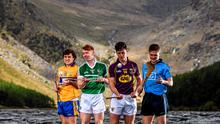 U-21 hurling stars, from left, Shane O'Donnell, Clare, Cian Lynch, Limerick, Conor McDonald, Wexford, and Cian O'Callaghan, Dublin, pictured at the launch of the 2015 Bord Gáis Energy GAA Hurling U-21 All-Ireland Championship at Glendalough, Co. Wicklow