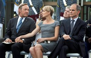 Kevin Spacey, Robin Wright and Michael Kelly in a scene from Netflix's 'House of Cards'