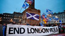 Independence supporters gather in George Square Glasgow, after Scotland's First Minister Nicola Sturgeon announced she will ask for permission to hold a second Scottish independence referendum. Photo: Jeff J Mitchell/Getty Images