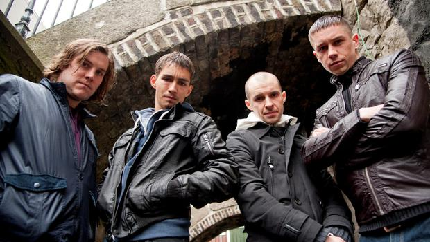 Peter Coonan as Fran, Robert Sheehan as Darren, Tom Vaughan Lawlor as Nidge and Killian Scott as Tommy in a publicity shot from Love/Hate Series 3