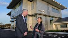 Boost: Fexco boss Denis McCarthy and Enterprise Ireland CEO Julie Sinnamon at the hub's launch