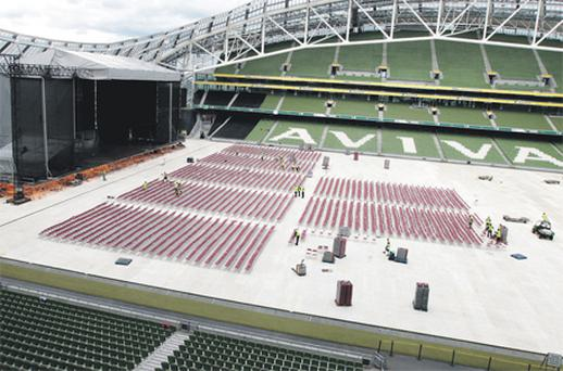Workers prepare the Aviva Stadium for a concert