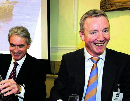 At Tullow Oil's Dublin shareholder meeting yesterday were chief executive Aidan Heavey (right) and company secretary Graham Martin