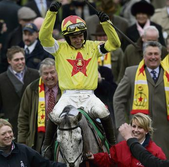 A GOOD BET: Jockey Ruby Walsh celebrates after winning the Paddy Power Gold Cup steeplechase onboard Al Ferof at Cheltenham last year. Paddy Power, one of the minority of listed Irish companies from which Davy receives no material income, was given a thumbs down by the stockbrokers last week