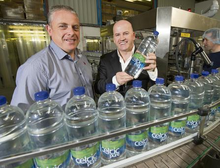 EAU NATURAL: Sean Gallagher with Celtic Pure proprietor Padraig McEneaney at his business in Corcreagh, Co Monaghan. Photo: Philip Fitzpatrick