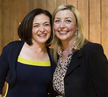 LEAN ON: Facebook COO and 'Lean In' author Sheryl Sandberg with journalist Edel Coffey last week. Photo: Mark Condren