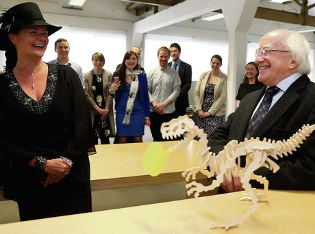 George Boyle, architect and founder of Fumbally Exchange, with President Higgins