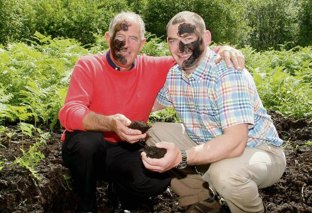 Pretty in peat: Bill Kenny and son-in-law Donal enjoy some beauty treatments on the bog
