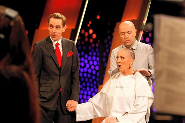 Majella O'Donnell has her head shaved on the Late Late Show