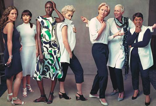 NEW LEADING LADIES: From left, Lulu Kennedy, Rachel Khoo, Alex Wek, Rita Ora, Emma Thompson, Annie Lennox and Doreen Lawrence, all M&S models