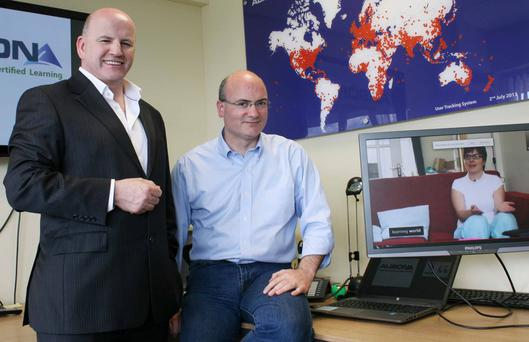Courage, Innovation and Perseverance: Sean Gallagher pictured with Mike Feerick at the ALISON headquarters in Galway. Photo: Brian Farrell