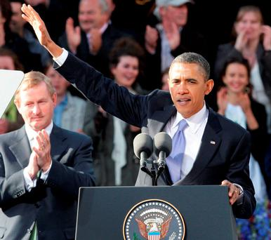 IS FEIDIR LINN: President Obama dusts down his cupla focail for the Dublin crowd in 2011. Photo: Frank McGrath