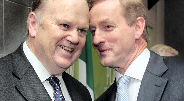 Minister for Finance Michael Noonan with Enda Kenny