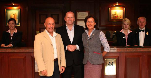 Sean Gallagher meets Deirdre McGlone, & her husband Marc Gysling Harvey's Point Hotel. Photo: Brian Farrell