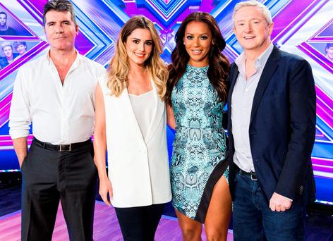 The X Factor panel: (left to right) Simon Cowell, Cheryl Fernandez-Versini, Mel B and Louis Walsh