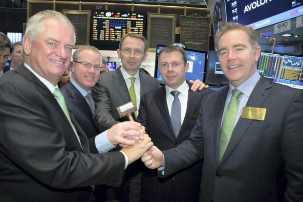 Avolon chairman Denis Nayden, chief operating officer Tom Ashe, chief commercial officer John Higgins, chief financial officer Andy Cronin and chief executive officer Domhnal Slattery on the New York Stock Exchange yesterday