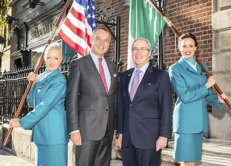 Christoph Mueller (centre), who is leaving Aer Lingus for Malaysian Airlines.