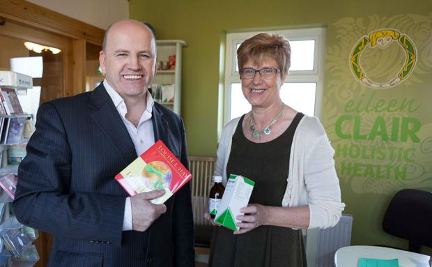 TIME TO MAKE A CHANGE: Sean Gallagher with Eileen Clair at her holistic healing centre in Kilrush, Co Clare. Photo: Eamon Ward