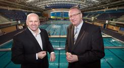 THE HUMAN JUNGLE: Sean Gallagher with Jerome Forde, whose HR firm already has an impressively long list of clients - including the National Aquatic Centre. Photo: Tony Gavin