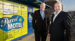 John Tuohy, MD of Nightline Group with Sean Gallagher at one of their Parcel Motel's at the Charlestown Shopping Centre